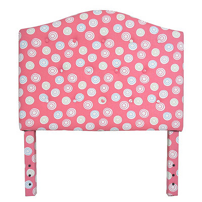 Pink Polka Dot Swirl Kids Twin Headboard