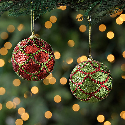 Green and Red Glam Orb Ornament, Set of 2