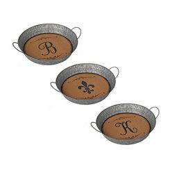Metal and Cork Monogram Trays