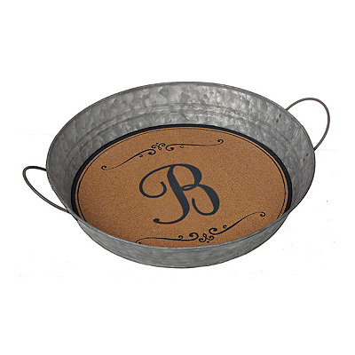 Metal and Cork Monogram B Tray