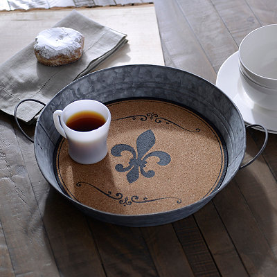 Metal and Cork Fleur-de-lis Tray