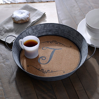 Metal and Cork Monogram J Tray