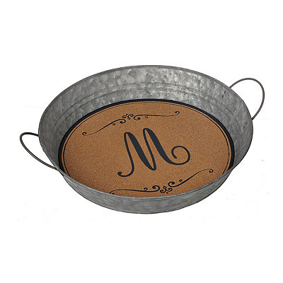 Metal and Cork Monogram M Tray