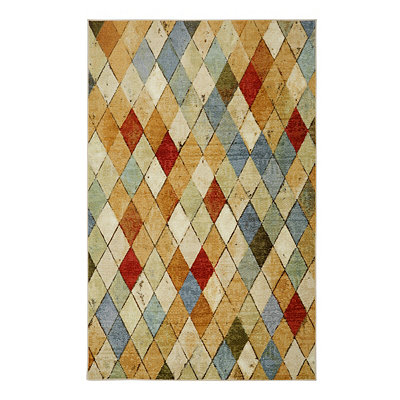 Tan Argyle Area Rug, 5x8