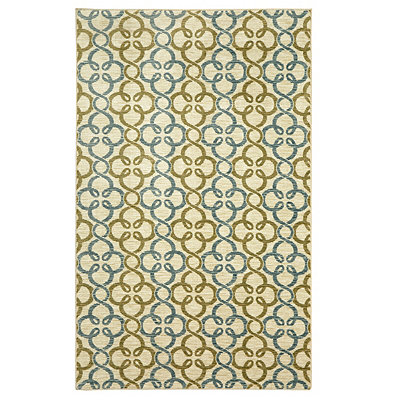 Pasadena Blue and Green Area Rug, 5x8