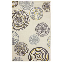 Gray and Yellow Swirls Area Rug, 5x8
