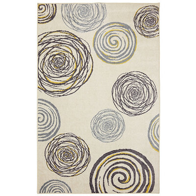 Gray and Yellow Swirls Area Rug, 8x10