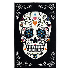 Black Sugar Skull Area Rug, 5x8