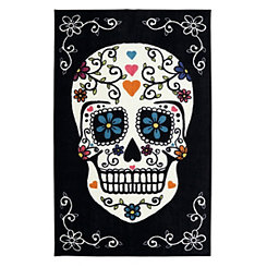 Black Sugar Skull Area Rug, 8x10