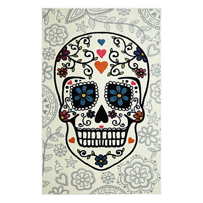 White Sugar Skull Area Rug, 8x10