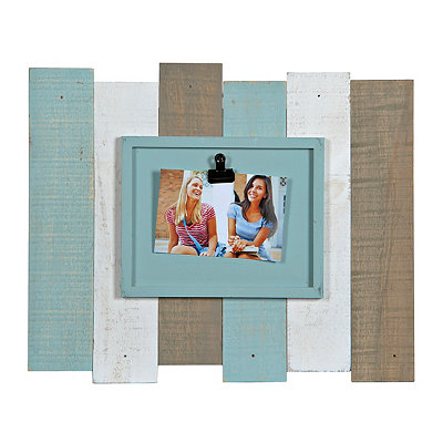 Natural Aqua Wood Plank Clip Picture Frame