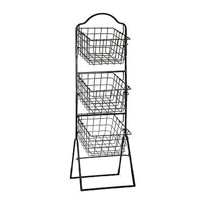 Bronze 3-Tier Metal Basket Tower