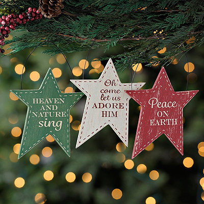 Stitched Star Ornaments, Set of 3