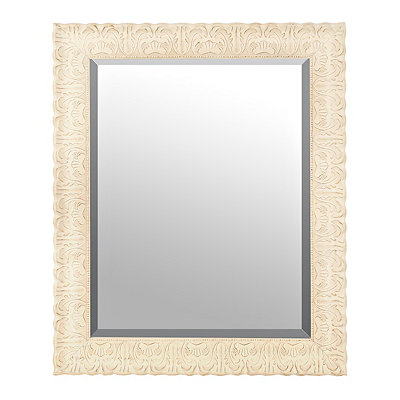 Ornate Distressed Cream Mirror, 29x35 in.