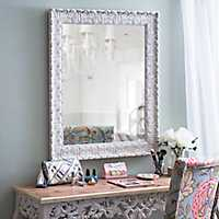 Ornate Distressed Cream Mirror, 28.7x34.7 in.