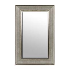 Distressed Silver Grid Framed Wall Mirror