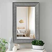 Silver Grid Textured Framed Wall Mirror