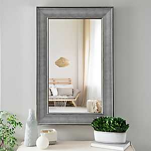 Silver Grid Textured Framed Wall Mirror
