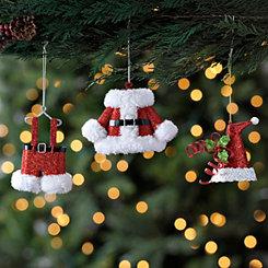 Santa Clothes Ornaments, Set of 3