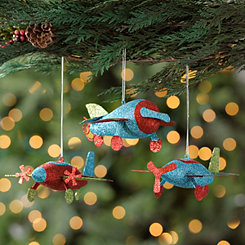 Glitter Airplane Ornaments, Set of 3