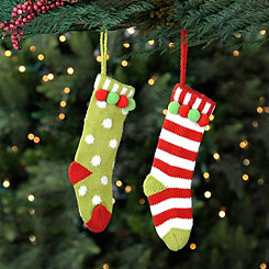 Knit Stocking Ornaments, Set of 2