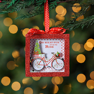 Red Bicycle Shadowbox Ornament