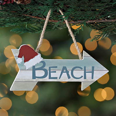 Santa Beach Arrow Sign Ornament
