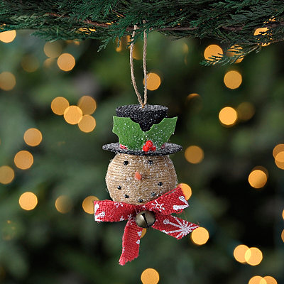 Burlap Snowman Head Ornament