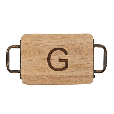 Wood and Iron Monogram G Cheese Board