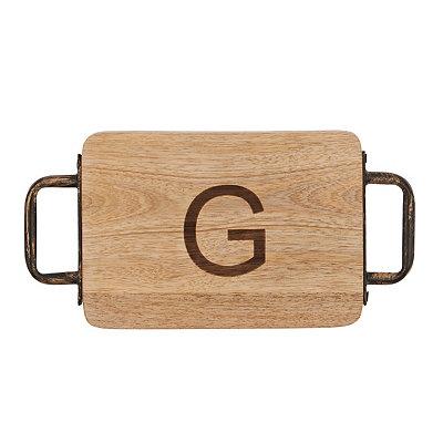 Wood and Iron Monogram G Cheese Board