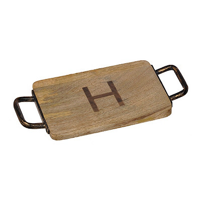Wood and Iron Monogram H Cheese Board