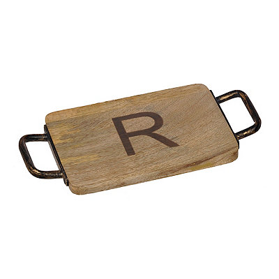 Wood and Iron Monogram R Cheese Board
