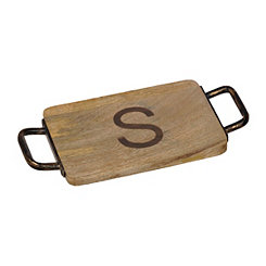 Wood and Iron Monogram S Cheese Board