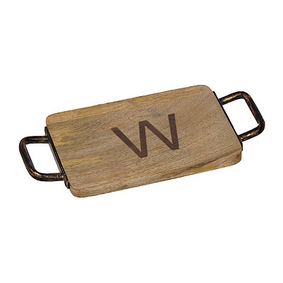 Wood and Iron Monogram W Cheese Board