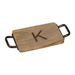 Wood and Iron Monogram K Cheese Board