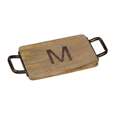 Wood and Iron Monogram M Cheese Board