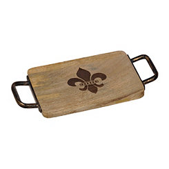 Wood and Iron Fleur-de-Lis Cheese Board
