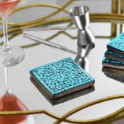 Turquoise Mosaic Coasters, Set of 4