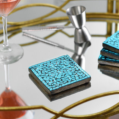 Turquoise Mosaic Coasters, Set of 4