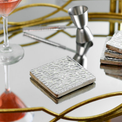 Silver Mosaic Coasters, Set of 4