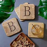 Stamped Monogram B Coasters, Set of 4