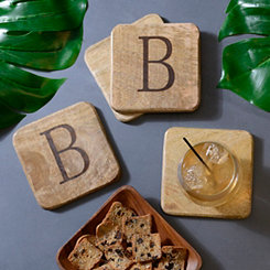 Stamped Monogram B Coasters, Set of 4