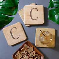 Stamped Monogram C Coasters, Set of 4