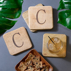 Stamped Monogram C Coasters, Set of 4