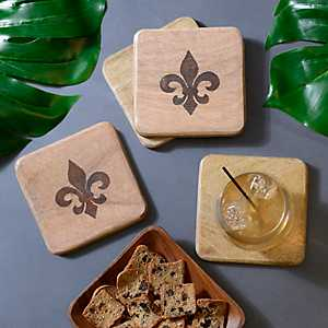 Stamped Fleur-de-Lis Coasters, Set of 4