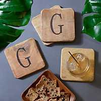 Stamped Monogram G Coasters, Set of 4