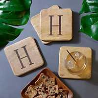 Stamped Monogram H Coasters, Set of 4