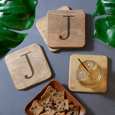 Stamped Monogram J Coasters, Set of 4