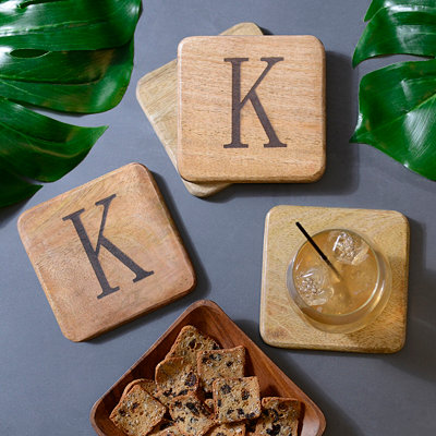 Stamped Monogram K Coasters, Set of 4