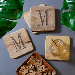 Stamped Monogram M Coasters, Set of 4